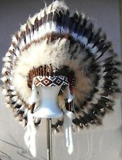 "Native American Navajo War Bonnet Headdress 36"" diameter ""DESERT BROWN"" Brown"