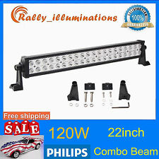 PHILIPS 22inch 120W Led Work Light Bar Spot Flood Offroad Fog Boat Lamp Tractor