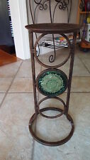 Partylite Bronze Iron Pillar Candle Holder w/ Green Glass Inset Retired -- RARE!