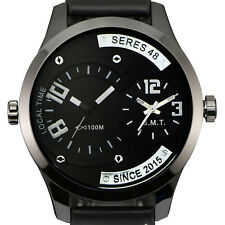 Zeiger Mens Quartz Analog Wrist Watch All-Black Leather Two Timezones Dials New