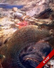 SAINT GEORGE LOSING THE BATTLE WITH THE DRAGON PAINTING REAL CANVASART PRINT