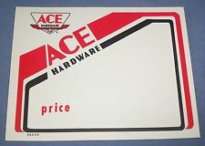 "Vtg Ace Hardware Store Sales Price Tag Sign Old Airplane Logo 5.5""x7"" Red White"