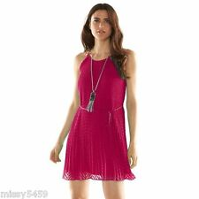 ELLE Women's Persian Red Clip dot Textured Pleated Trapeze Dress Size S