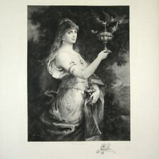 Antique French Engraving Aquatint, Woman, Butterfly & Doves, Henri-Léopold Lévy