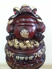 "chinese fengshui Lucky wealth money Golden Toad spittor 13""H x 11"" W"