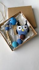 Personalised crochet wooden dummy clip/pacifier holder/personalized/soother/owl