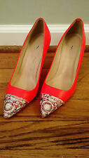 JCrew $278 Elsie Glitter Mosaic Cap-Toe Pumps 6.5 E7255 Electric Red Heels shoes