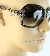 Gucci Havana Chocolate Bronze Chain Link Women's Sunglasses 3584/S Authentic