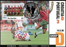 Football Maxicard 1996 Croatia V Portugal Handstamped #C26342