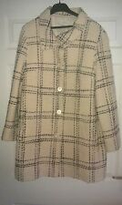 Ladies cream/black check wool coat from Marks & Spencer - size 14