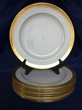 Set of 8 Antique Minton Gold Encrusted Dinner Plates #G6285 1920 ~England