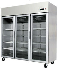 New 3 Door Commercial Reach In Glass Front Merchandiser Refrigerator - STAINLESS