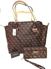 GUESS Brown CONFIDENTIAL Logo Tote Shopper Bag Satchel  & Wristlet Wallet NWT