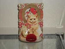 Antique CAT Valentine Card Germany Stand-Up Red Honeycomb