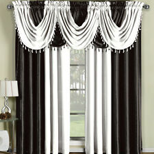 Soho Rod Faux Silk Waterfall Window Treatment includes 4 Panels and 5 Valances