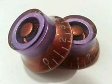 2 Guitar top hat volume / tone knobs. Purple Met/Copper. JAT CUSTOM GUITAR PARTS