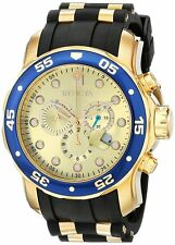 Invicta Pro Diver Chronograph Gold Dial Black Rubber Mens Watch 178841
