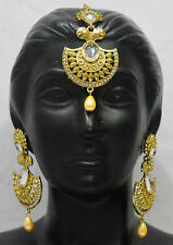 Indian Bollywood Gold Earring Tikka Earring Women Costume Jewellery Set f8m3