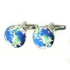 Planet Earth Cufflinks the World Globe Satellite Cruise Party Present Gift Box
