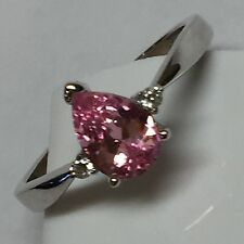 Beautiful 1ct Pink White Sapphire 925 Solid Sterling Silver Solitaire Ring sz 9