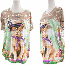 Tunique FEMME GRANDE TAILLE Top Chat 38 40 42 44 46 48 50 52 BEIGE 2CATS