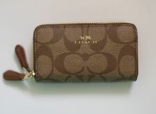 COACH Signature PVC Small Double Zip Coin Case/Card Wallet Browni/Khaki F63975