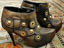 Stiletto Ankle Boots with Studs worn once for photo shoot! 8 Distressed antiqued