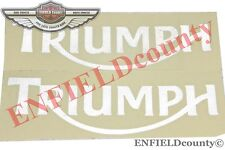 PETROL FUEL TANK LOGO DECALS STICKER 2 UNITS WHITE TRIUMPH MOTORCYCLE @ECspares