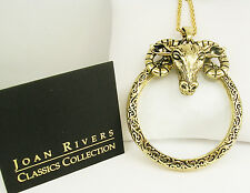 "Joan Rivers Ram Magnifying Glass Pendant Necklace  30"" 3"" ext.  Ram 2 1/4"" G"
