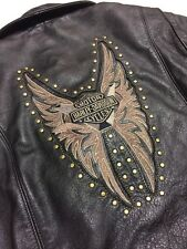 Rare Harley Davidson Studded Black Leather Jacket Women's Large Butterfly Wings