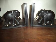 VINTAGE EBONY WOOD ELEPHANT BOOK ENDS
