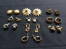 Lot 10 pair vintage clip on earrings screw back Napier Monet gold silver flower