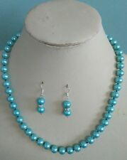 8mm Sky blue South Sea Shell Pearl necklace AAA 18 inches Earring Set