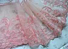 "3Y ~6.5""~Venice Embroidered Lace Trim Tulle Floral Bridal Wave Rim Dress Salmon"