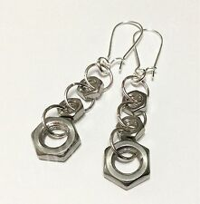 Industrial Metal Upcycled Earrings Stainless Steel Hex Nut Rock Steampunk Goth