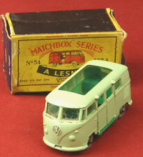 MATCHBOX LESNEY No. 34 B2 Volkswagen Caravette Camping Car Grey Wheels w/ Box