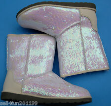 New So Man Made Sequin Mid Shaft Junior Boots Women Size 7