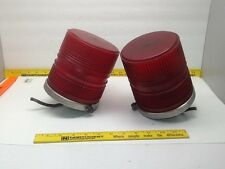 Vintage 2 Beacon Ray Base Red Globe Light Part Fire truck Emergency 1079-1