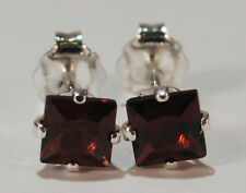 PRETTY! GENUINE NATURAL MINED PRINCESS GARNET EARRINGS~STERLING SILVER~4MM