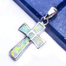 CUTE White Australian Opal Cross .925 Sterling Silver Pendant 1""