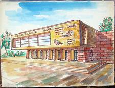 Acquerello '900 su carta Watercolor Architettura futurista cubista razionale-206