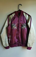 Vintage Red Burgundy Sukajan Dragon Souvenir Jacket Japan Bomber Reversible sati