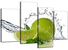 Large Lime Green Kitchen Canvas Wall Art Pictures 130cm XL Prints 4057