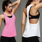 Womens Yoga Gym Sports Tops Shirts Tank Active Stretch Sleeveless Workout Vest