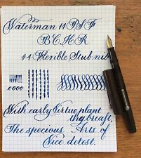 VINTAGE WATERMAN 14 PSF BCHR FOUNTAIN PEN FLEXIBLE STUB NIB VIDEO AVAILABLE