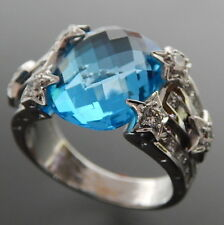 18K WHITE GOLD FACETED BLUE TOPAZ & 1.17 CTW DIAMONDS STARRY SKY RING SIZE 6.5