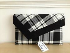 BURNS NIGHT OVER SIZED BLACK & WHITE TARTAN  clutch bag, faux suede trim.
