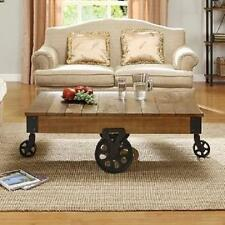 Industrial Coffee Table Wood Cocktail Rustic Metal Hardware Wheels Furniture