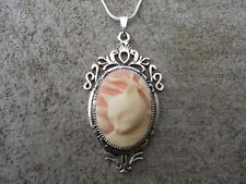 GORGEOUS CAT CAMEO NECKLACE PENDANT (cream/pink) 925 PLATE CHAIN- QUALITY!!!
