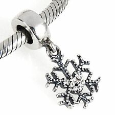 SNOWFLAKE MICKEY Genuine 925 sterling silver charm bead fit European bracelet
